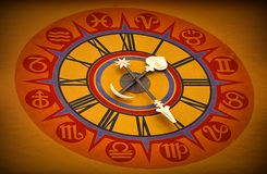 Astrological clock on the wall. Watch with astrological signs showing the right time Stock Image