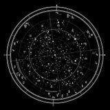 Astrological horoscope on January 1, 2017. Astrological Celestial map of Northern Hemisphere. Horoscope on January1, 2017 (00:00 GMT). Detailed Stock Photography