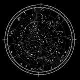 Astrological horoscope onJanuary1,2018. Astrological Celestial map of Northern Hemisphere. Horoscope on January 1, 2018 (00:00 GMT&#x29 vector illustration