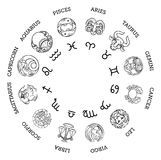 Astrological horoscope zodiac star signs symbols Stock Images