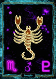 Astrological Illustration: Scorpio. Astrological Illustration Scorpio in gold with a astral background and the planetary and zodiacal symbols royalty free illustration