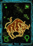 Astrological Illustration: Taurus. Astrological Illustration Taurus in gold with a astral background and the planetary and zodiacal symbols Stock Photography