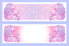 Astrological Leo horizontal banners. Horizontal banners with Zodiac Leo and a decorative frame of roses. Astrology web element. Tattoo design. Sketch in pastel Royalty Free Stock Photos