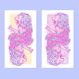 Astrological Leo vertical banners. Vertical banners with Zodiac Leo and a decorative frame of roses. Astrology web element. Tattoo design. Sketch in pastel Royalty Free Stock Images