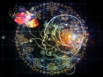 Astrological Profile. Female line profile and decorative elements on the subject of astrology, occult, spells, foretelling, magic and witchcraft Stock Photography