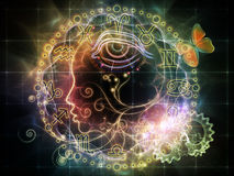 Astrological Profile. Female line profile and decorative elements on the subject of astrology, occult, spells, foretelling, magic and witchcraft Royalty Free Stock Photography