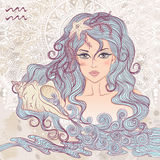 Astrological sign of Aquarius as a portrait of beautiful girl Royalty Free Stock Image