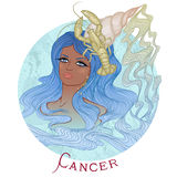 Astrological sign of Cancer as a beautiful african american girl Stock Image