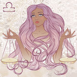 Astrological sign of Libra as a portrait of beautiful african am Stock Photography