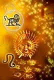 Astrological sign Lion. Astrological signs of Lion in gold color vector illustration