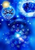 Astrological sign Pisces. Astrological sign of Pisces in blue color stock illustration