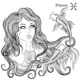 Astrological sign of Pisces as a beautiful girl. Zodiac. Vector illustration of the astrological sign of Pisces as a beautiful girl with long hair. Lineart for Royalty Free Stock Photos