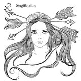 Astrological sign of Sagittarius as a beautiful girl Royalty Free Stock Photo