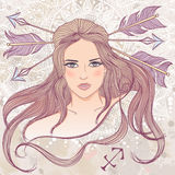 Astrological sign of Sagittarius as a portrait of beautiful girl Royalty Free Stock Image