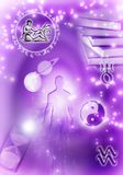 Astrological signs Aquarius. In violet colors stock illustration