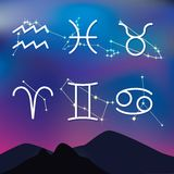Astrological signs. Night mountain landscape with Zodiac constel Stock Photography