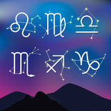 Astrological signs. Night mountain landscape with Zodiac constel Royalty Free Stock Photo