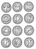 Astrological Signs Web Icons. The 12 astrological symbols of the zodiac including aries,taurus,gemini,cancer,leo,virgo,libra,scorpio,sagittarius,capricorn stock illustration