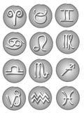 Astrological Signs Web Icons. The 12 astrological symbols of the zodiac including aries,taurus,gemini,cancer,leo,virgo,libra,scorpio,sagittarius,capricorn Stock Illustration