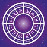 12 astrological signs wheel. Vector magical zodiac universe background. stock photos