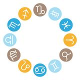 12 astrological signs wheel. Vector zodiac icons set. royalty free stock images
