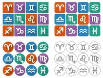 Astrological signs of the zodiac. Flat UI square icons with long shadow. Stock Image