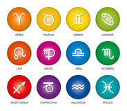 Astrological signs of the zodiac rainbow colors. Astrological signs of the zodiac in rainbow colored gradients. Twelve circles with star sign symbols in bright Stock Photo