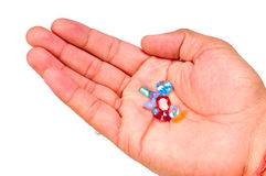 Astrological stones. Astrological precious stones in male's hand Stock Photography