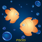 Astrological symbol of fish or pisces in the dark blue water Stock Photo