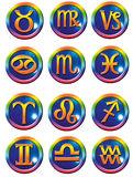 Astrological symbols. Set of all astrological signs as buttons royalty free illustration