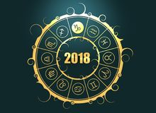 Astrology symbols in circle. Capricorn sign. Astrological symbols in the circle. Capricorn sign. Celebration card template. Zodiac circle with 2018 new year Royalty Free Stock Photo