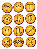 Astrological Symbols Icons. The 12 astrological symbols of the zodiac including aries,taurus,gemini,cancer,leo,virgo,libra,scorpio,sagittarius,capricorn,aquarius stock illustration