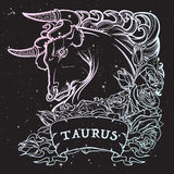 Astrological Taurus isolated on starry sky background. Zodiac sign of Taurus. with a decorative frame of roses Astrology concept art. Tattoo design. Sketch in stock illustration
