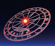 Astrological wheel. Over a blue-black gradient background royalty free illustration