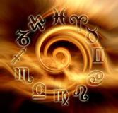 Astrological wheel. Zodiacal wheel with golden whirl as background royalty free illustration
