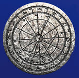 Astrological wheel on stone. 3d render of an astrological wheel carved in stone vector illustration