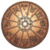 Astrological zodiac signs inside of copper horoscope circle. 3d rendering royalty free stock photos