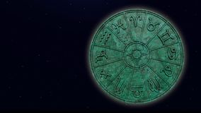 Astrological zodiac signs inside of green marble horoscope circle. 3d rendering stock photo