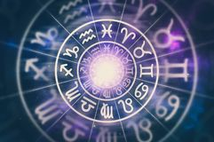 Astrological zodiac signs inside of horoscope circle. On universe background - astrology and horoscopes concept - retro style stock illustration