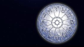 Astrological zodiac signs inside of silver horoscope circle. 3d rendering stock images