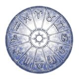 Astrological zodiac signs inside of silver horoscope circle. 3d rendering stock photo
