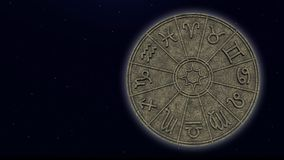 Astrological zodiac signs inside of stone horoscope circle. 3d rendering stock photo