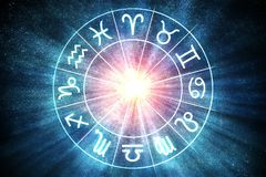 Astrologie en horoscopenconcept De tekens van de dierenriem in cirkel 3D teruggegeven illustratie royalty-vrije illustratie