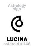 Astrologie : LUCINA en forme d'étoile Image stock