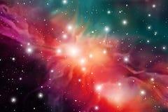 Astrologie-Mystiker-Hintergrund Weibliches Portrait gegen abstrakte Hintergründe Vektor-Digital-Illustration des Universums Vekto lizenzfreie abbildung