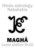Astrologie : Nakshatra lunaire de la station MAGHA Photo libre de droits