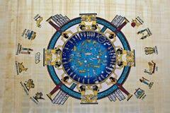 Astrologie op Papyrus Stock Afbeelding
