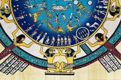 Astrologie op Papyrus Stock Foto's