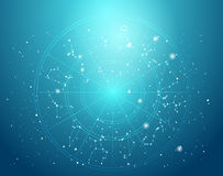 Astrologie- und Alchimiezeichenhintergrund-Vektorillustration Stockfotos