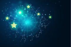 Astrologie- und Alchimiezeichenhintergrund-Vektorillustration Stockbilder